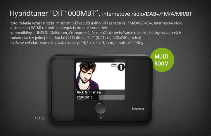 Hama Hybridtuner DIT1000MBT, internetové rádio/DAB+/FM/A/MR/BT