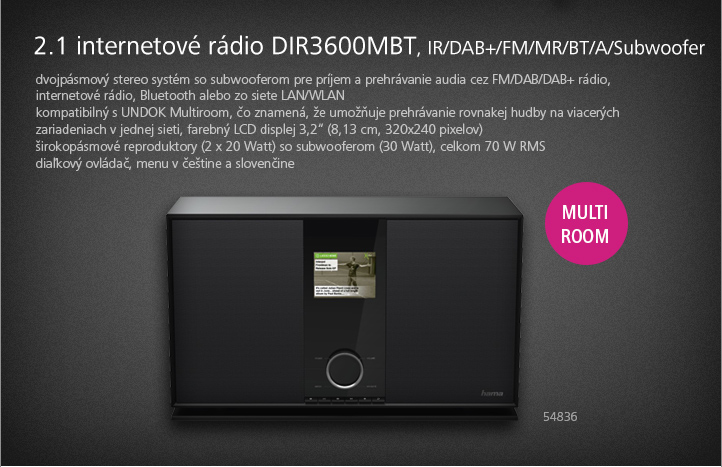 HAMA 2.1 INTERNETOVÉ RÁDIO DIR3600MBT, IR/DAB+/FM/MR/BT/A/SUBWOOFER