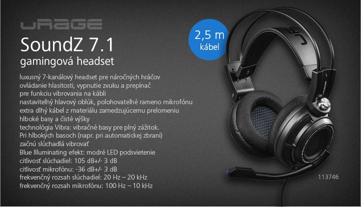 URage gamingový headset SoundZ 7.1, čierny