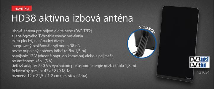 Hama aktívna izbová anténa HD38, 38 dB, čierna