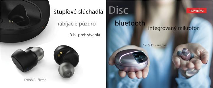 Bluetooth štupľové slúchadlá Disc, bezdrôtové