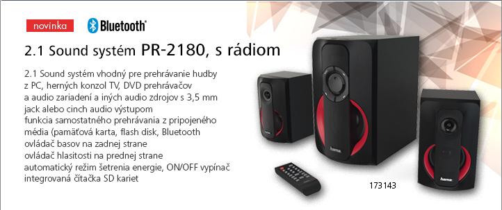 Hama 2.1 Sound systém PR-2180, s rádiom, čierna/červená